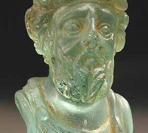 Rzymskie szklane popiersie cesarza Septymiusza Sewera