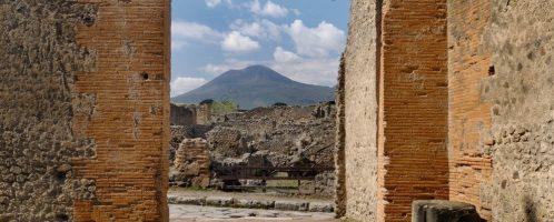 View of Mount Vesuvius in Pompeii