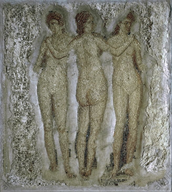Roman mosaic showing three Graces