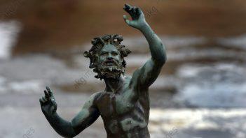 Roman statue of Faun in impluvium