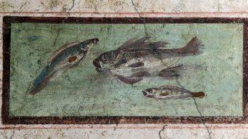 Pompeian fresco depicting fish