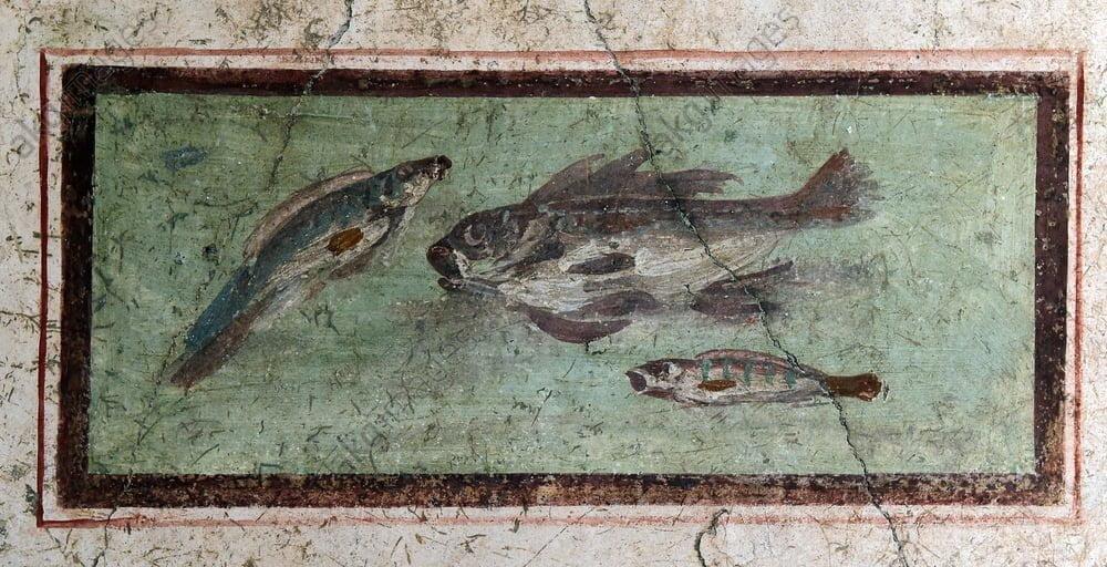 Pompejański fresk ukazujący ryby