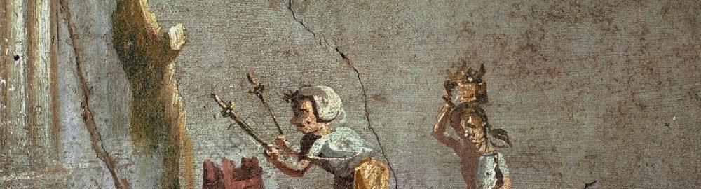 Rzymski fresk ukazujący kobietę przed ołtarzem w świątyni