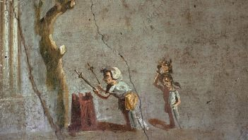 Roman fresco showing woman in front of altar
