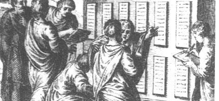 Rycina ukazująca wywieszenie 12 tablic ze spisanymi prawami