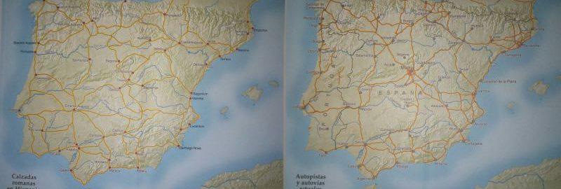 Zestawienie dróg rzymskich i współczesnych na mapie Hiszpanii