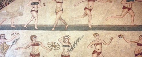 Roman mosaic with women in bikinis