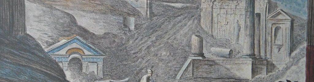Rycina ukazująca odkrycie świątyni Izydy w Pompejach