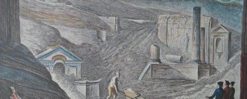 A print showing the discovery of the temple of Isis in Pompeii
