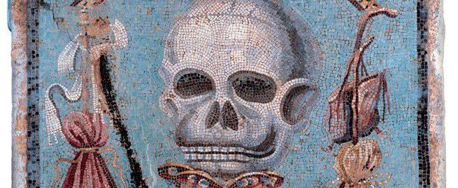 Rzymska mozaika ukazująca czaszkę z kołem