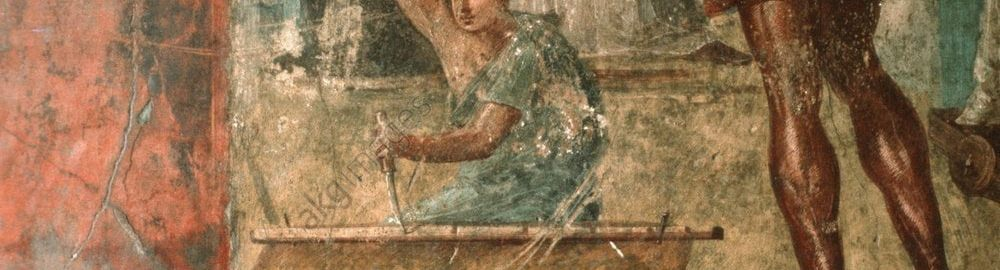 Roman fresco depicting a carpenter at work