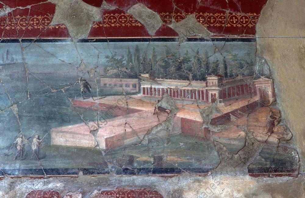 Detal z rzymskiego fresku ściennego, ukazujący dużą willę