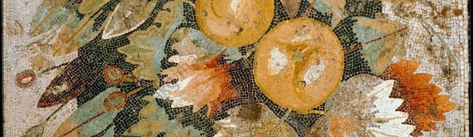 Garlands on the Roman mosaic