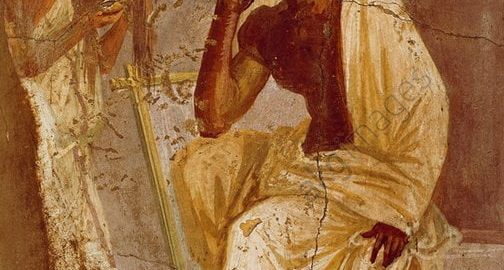 Fresco showing an actor with a mask