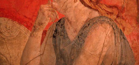 Roman fresco depicting a pensive woman