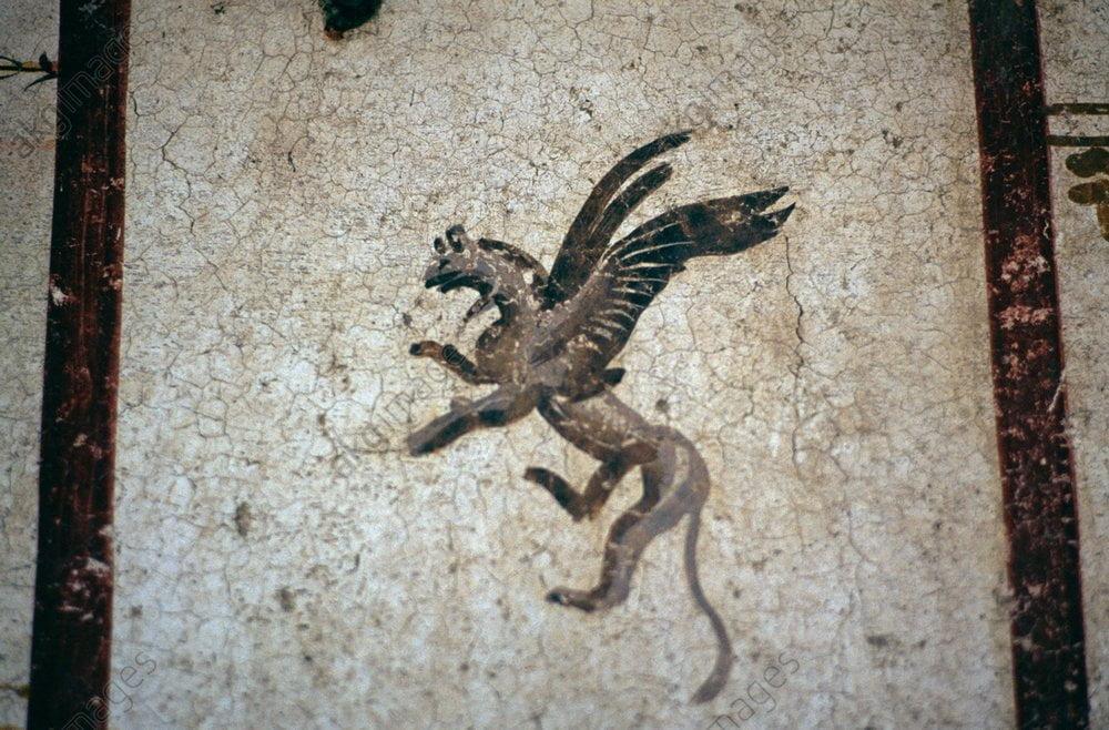 Rzymski fresk ukazujący latające stworzenie