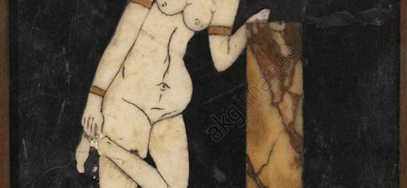 Rzymska ozdoba ścienna ukazująca Wenus zakładającą sandała