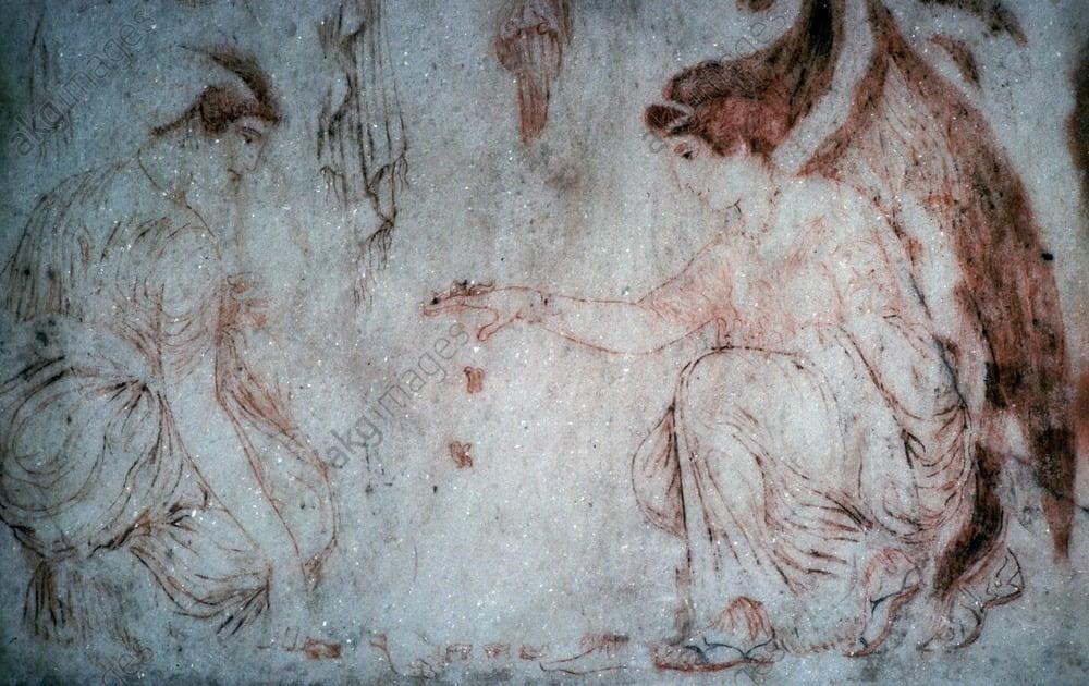 Rzymski malunek na marmurze ukazujący córki Niobe