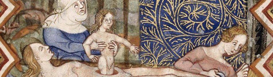 XIV-wieczna ilustracja ukazująca narodziny Cezara