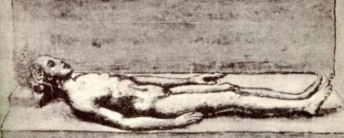 A drawing by Bartolomeo Fonzio (from the 15th century) showing the  uncovered body of a Roman girl dating back 1500 years