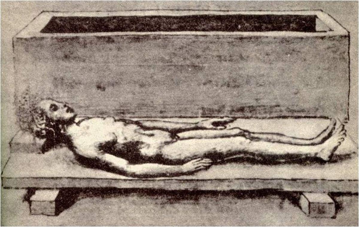 Rysunek Bartolomeo Fonzio (z XV wieku) ukazujący odkryte ciało rzymskiej dziewczyny sprzed 1500 lat
