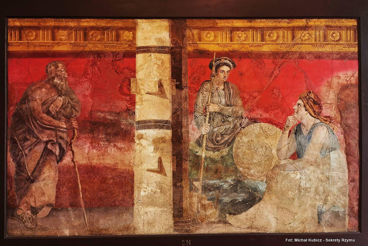 Rzymski fresk w pełnej kompozycji z willi w Boscoreale
