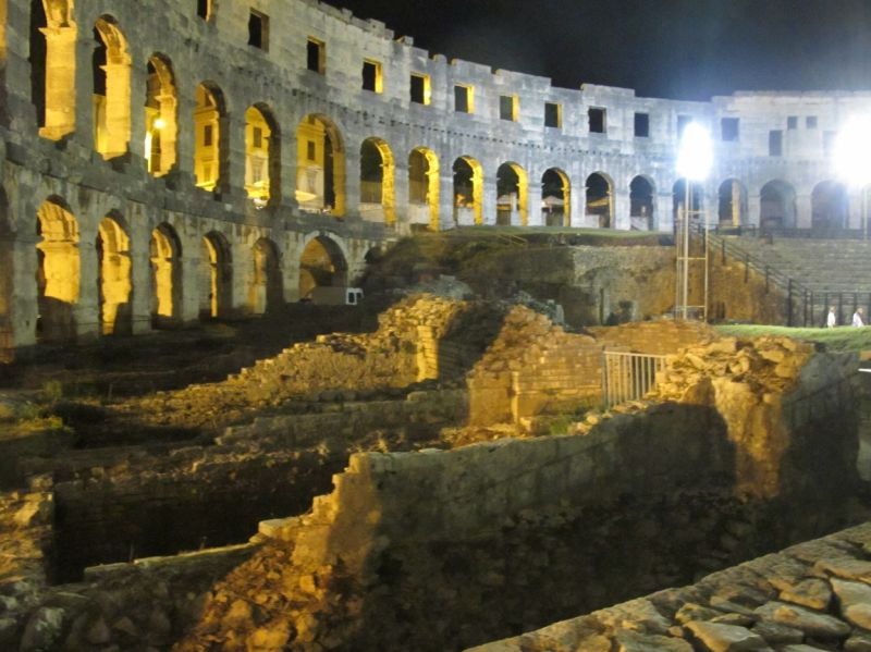 The interior of the amphitheater in Pula