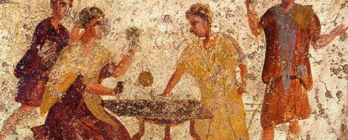 Roman fresco depicting a game of dice in a tavern