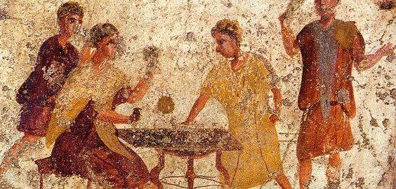 Rzymski fresk ukazujący grę w kości w tawernie