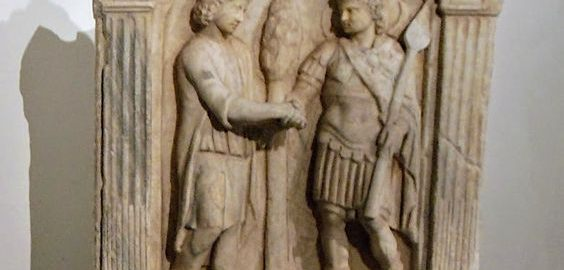Roman tombstone located in the Capitoline Museums in Rome. The relief  shows two men in a classic handshake