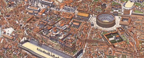 Center of Rome showing Rome in the 4th century CE