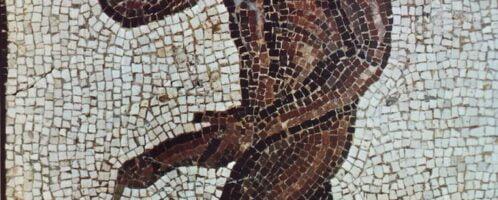 Mosaic showing a naked black slave