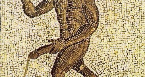 Mosaic showing a naked black slave