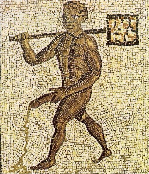 Roman erotic mosaic showing black slave