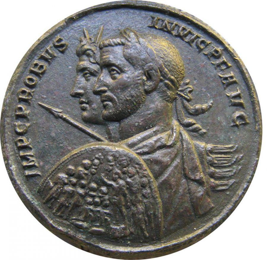 Moneta ukazująca cesarza Probusa i Sol Invictus