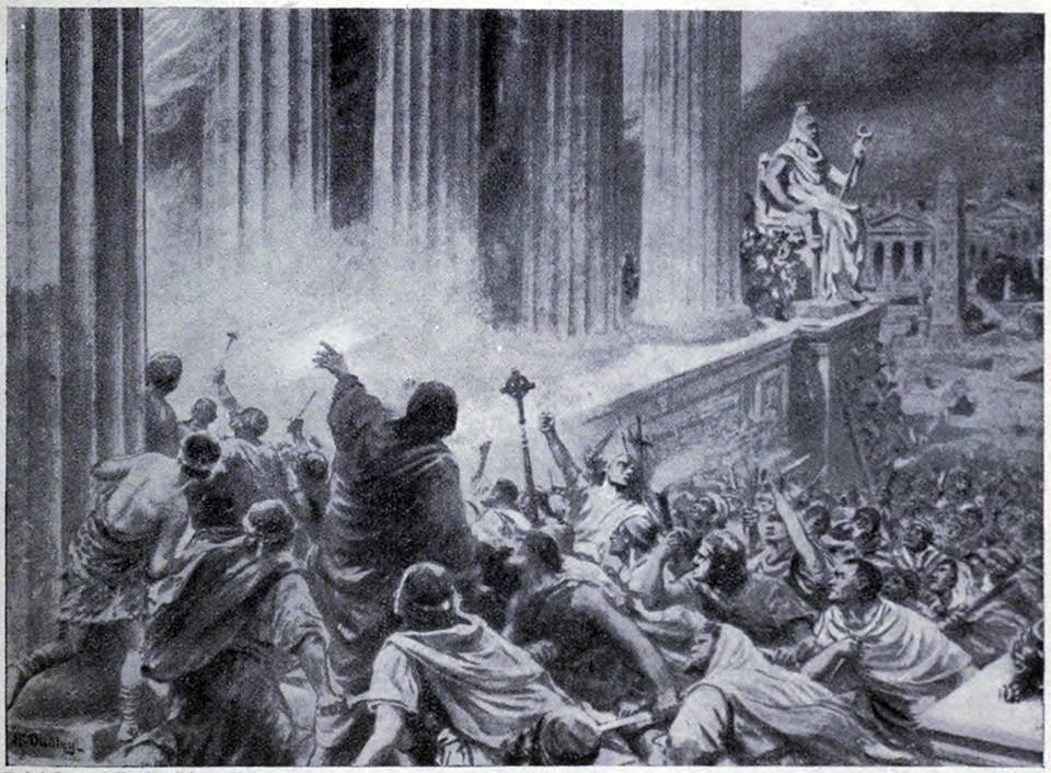 Spalenie biblioteki w Aleksandrii, datowane na 391 rok n.e.