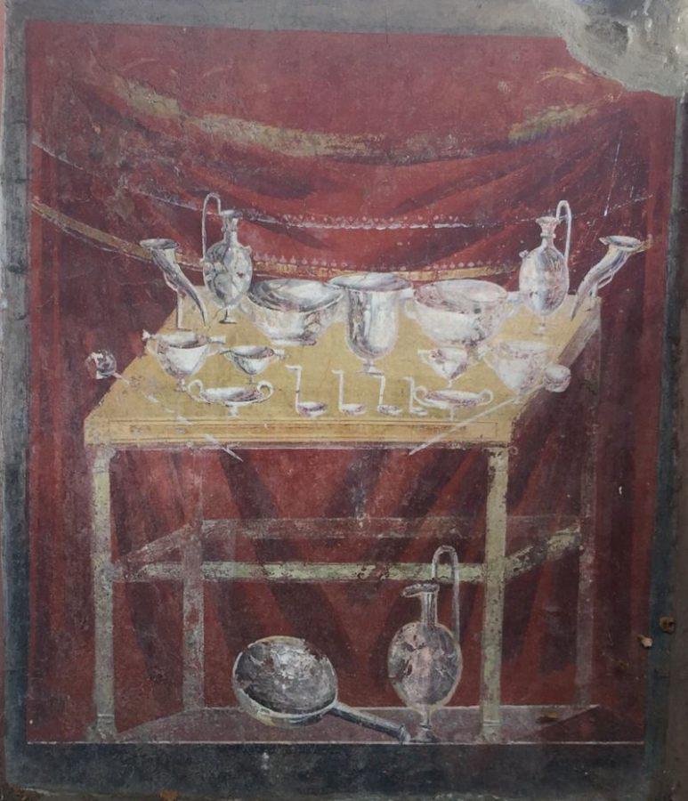 Fresk z grobowca ukazujący stół z zastawą