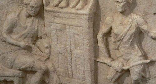 Rzymski relief nagrobny ukazujący rzemieślników przy pracy
