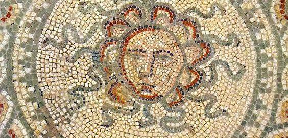 Medusa's heads on the Roman mosaic