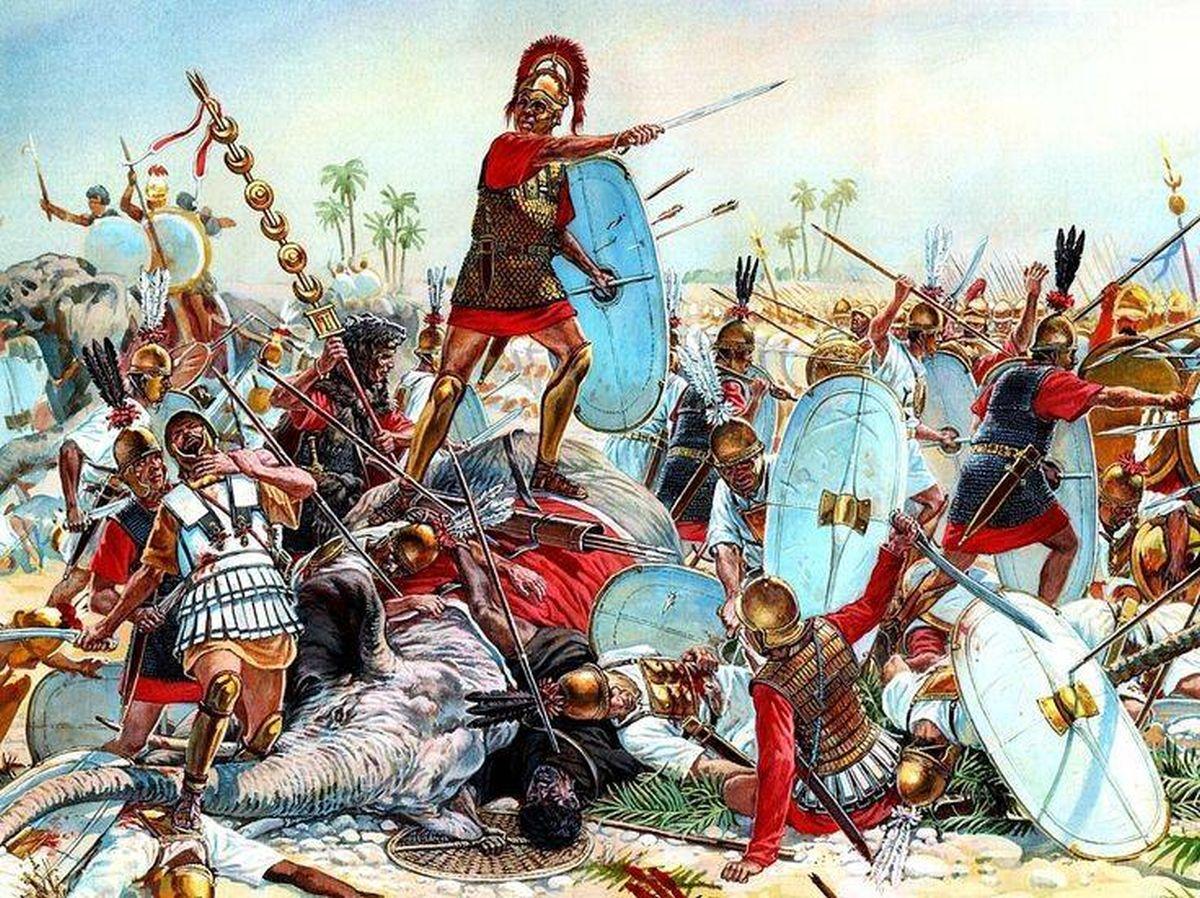 Ilustracja ukazująca scenę bitwy nad Trebią