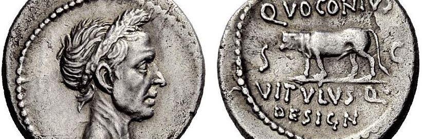 Moneta ukazująca boskiego Cezara
