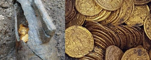 Hundreds of gold Roman coins have been discovered in the north of Italy