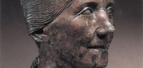 A realistic portrait of an elderly Roman woman