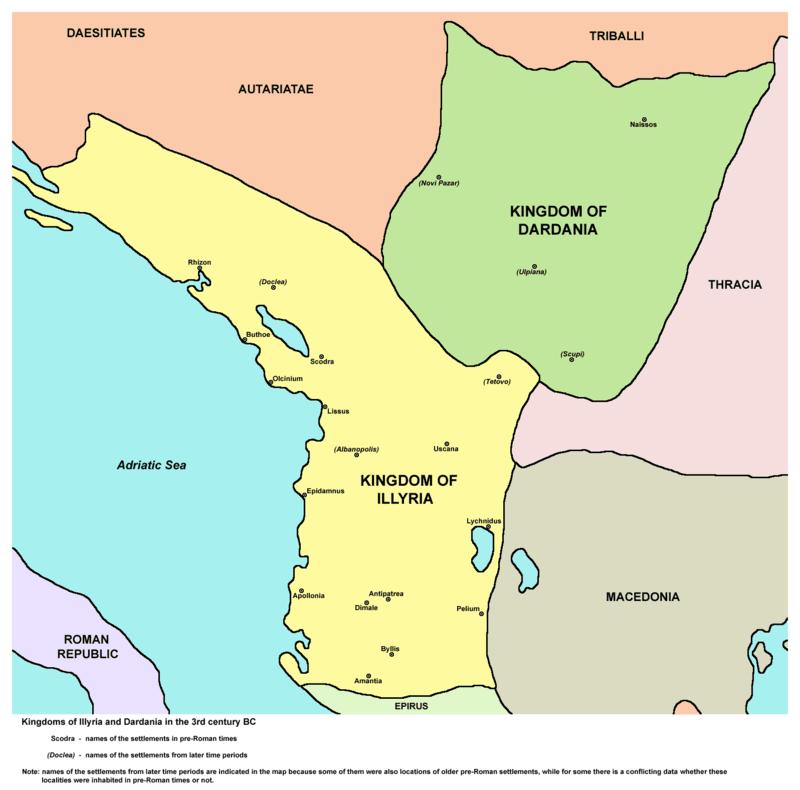 Królestwo Ilirii (kolor żółty) w czasach rządów Teuty
