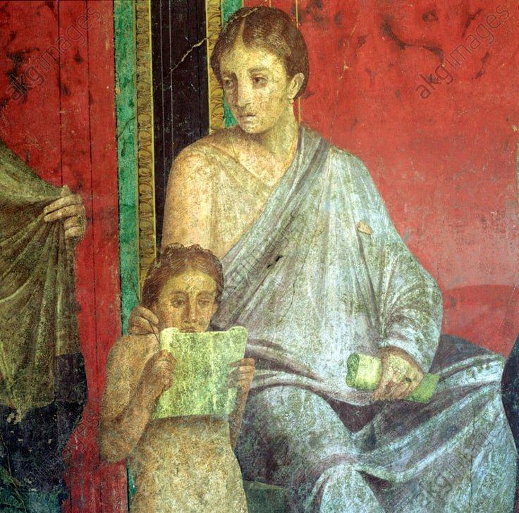 Czytająca dziewczynka na rzymskim fresku