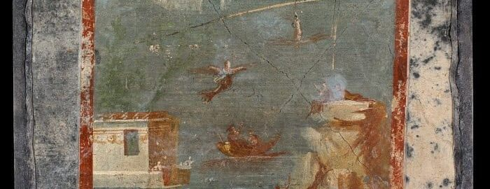 Roman fresco showing the fall of Icarus into the sea