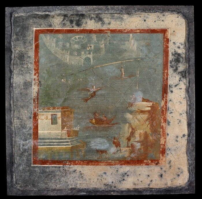Rzymski fresk ukazujący upadek Ikara do morza