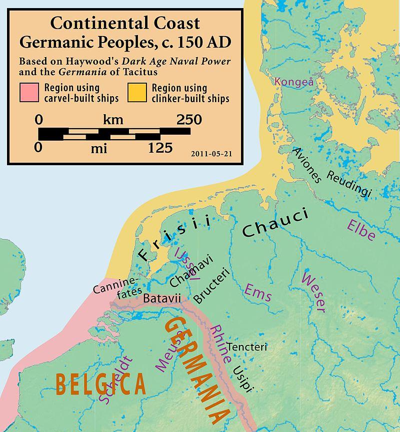 Germańskie plemiona w okolicy ujścia Renu, około roku 150 n.e.