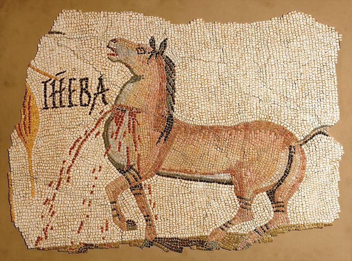 Mozaika rzymska z rannym koniem