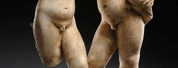 Rzymskie marmurowe rzeźby mężczyzn